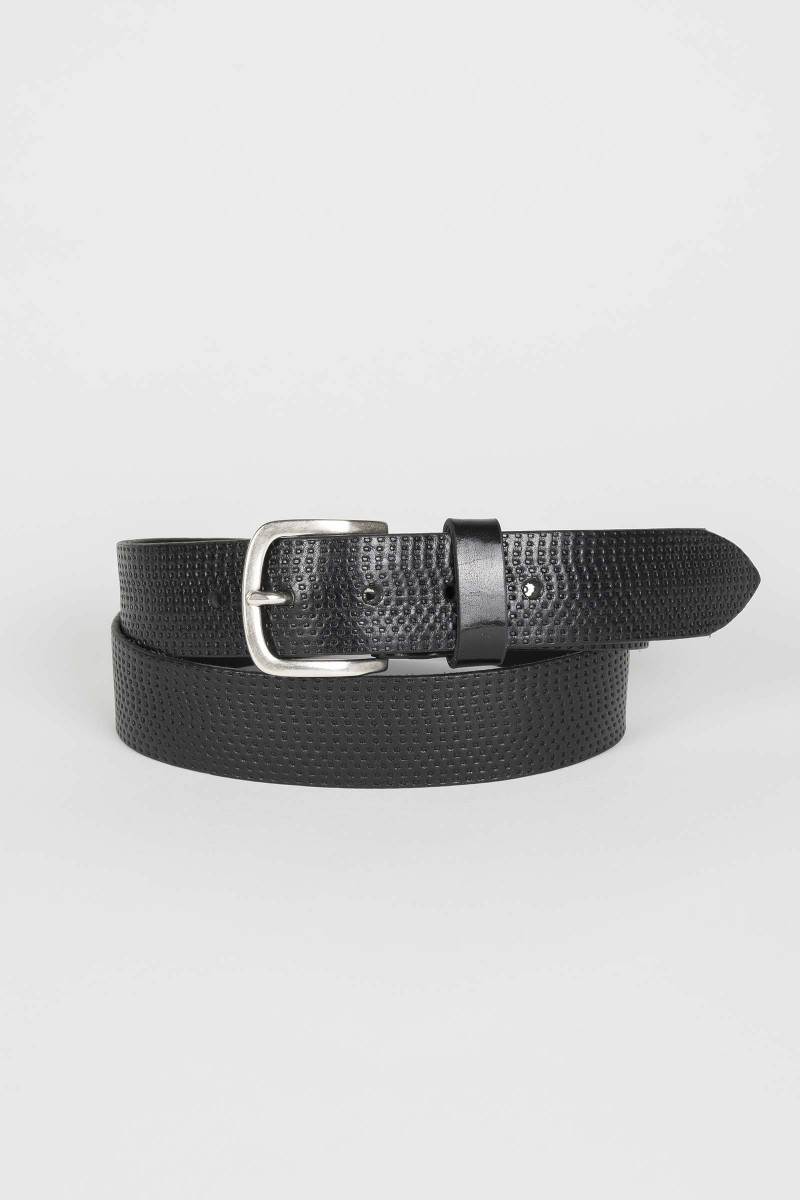 Black Engraved Leather Belt Eduardo Rivera