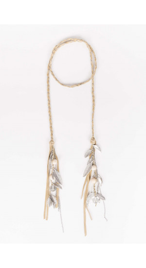 Beige Feathers Necklace Elisa Rivera