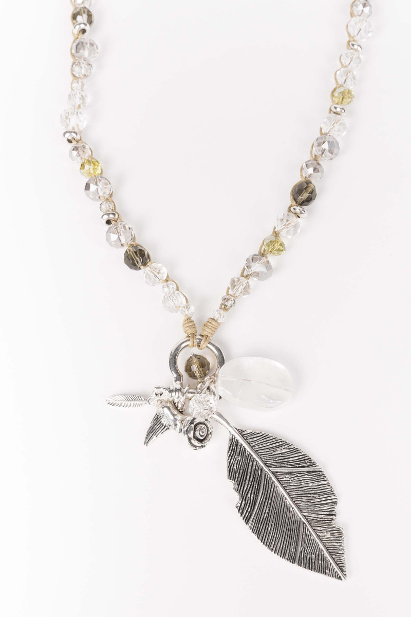 Crystal Feather Necklace