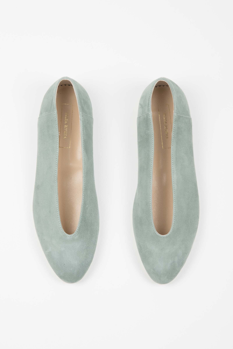 Light Green Suede Ballerina