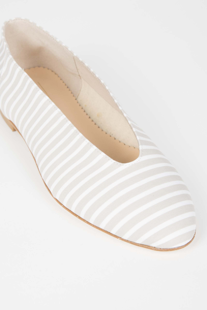 Beige-White Stripes Ballerinas