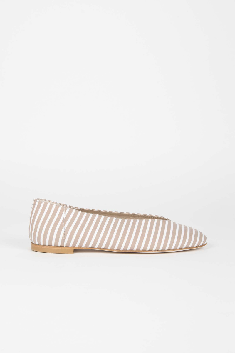 Tan-White Striped Ballerinas Elisa Rivera