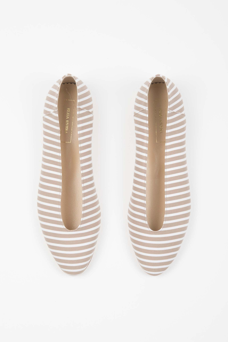 Tan-White Striped Ballerinas