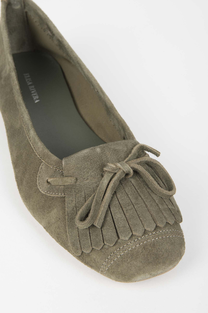 Kaki Fringed Moccasin