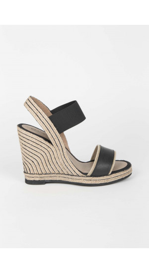 Black High Wedge Sandals Elisa Rivera
