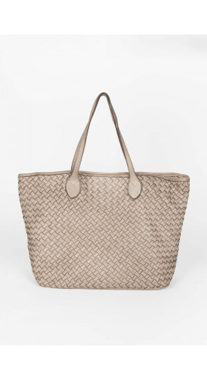 Taupe Leather Bag Elisa Rivera