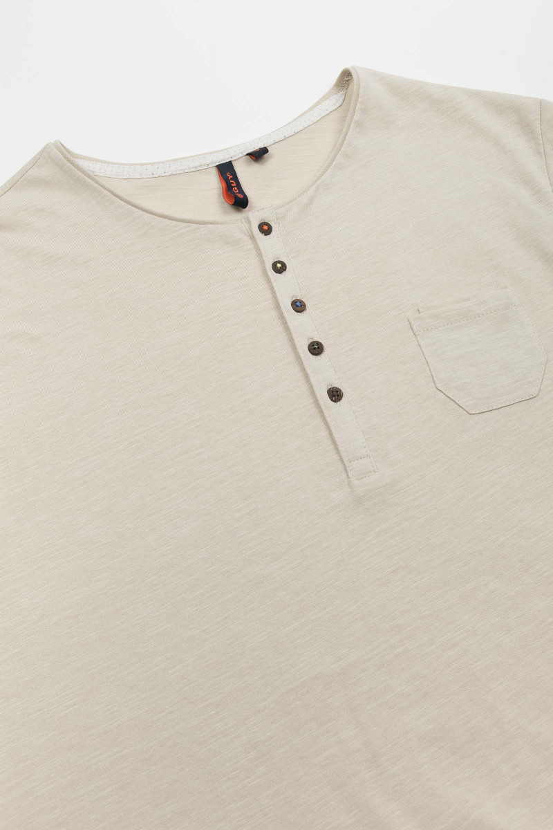 Beige Cotton Polo Shirt