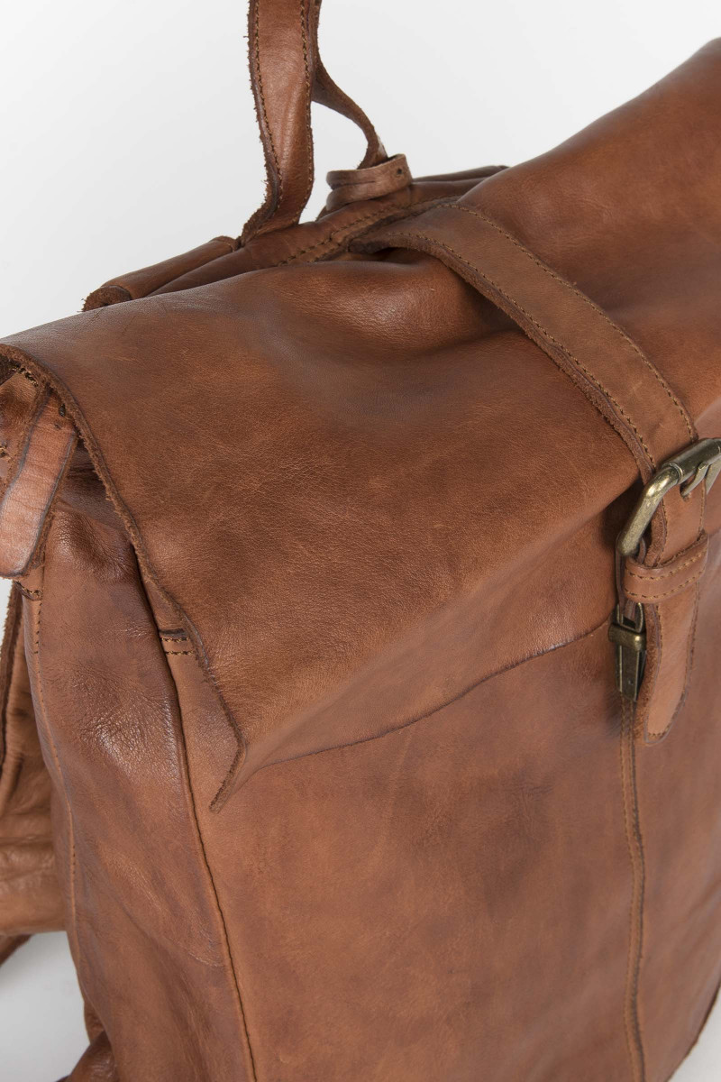 Buckle Leather Backpack