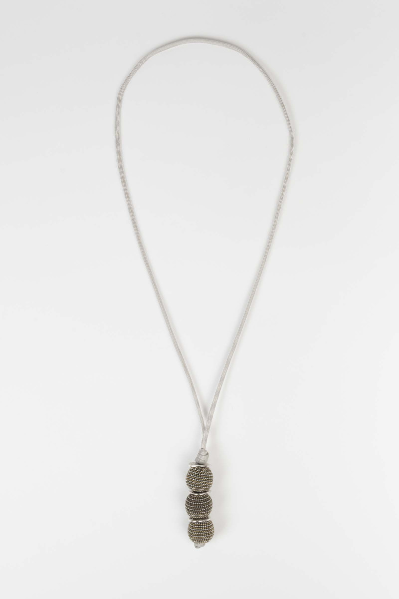 Gray Cord Necklace with...