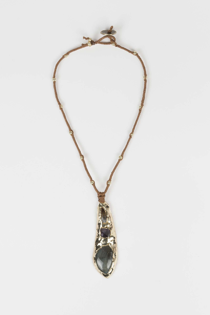 Necklace with Gold Teardrop...