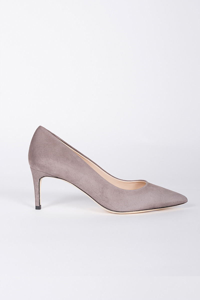 Gray Low Heel Pump