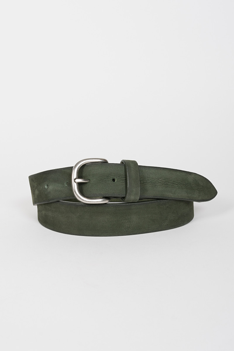 Green leather belt