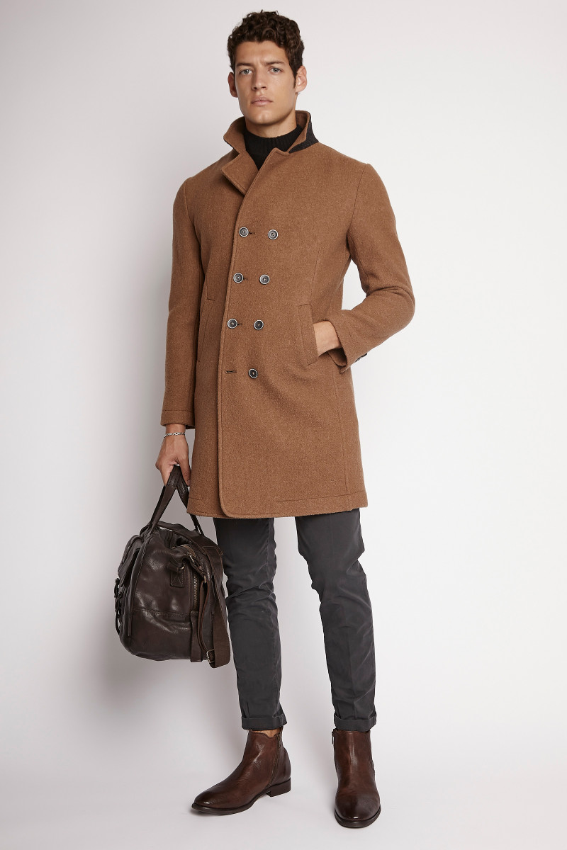 double breasted camel coat for man