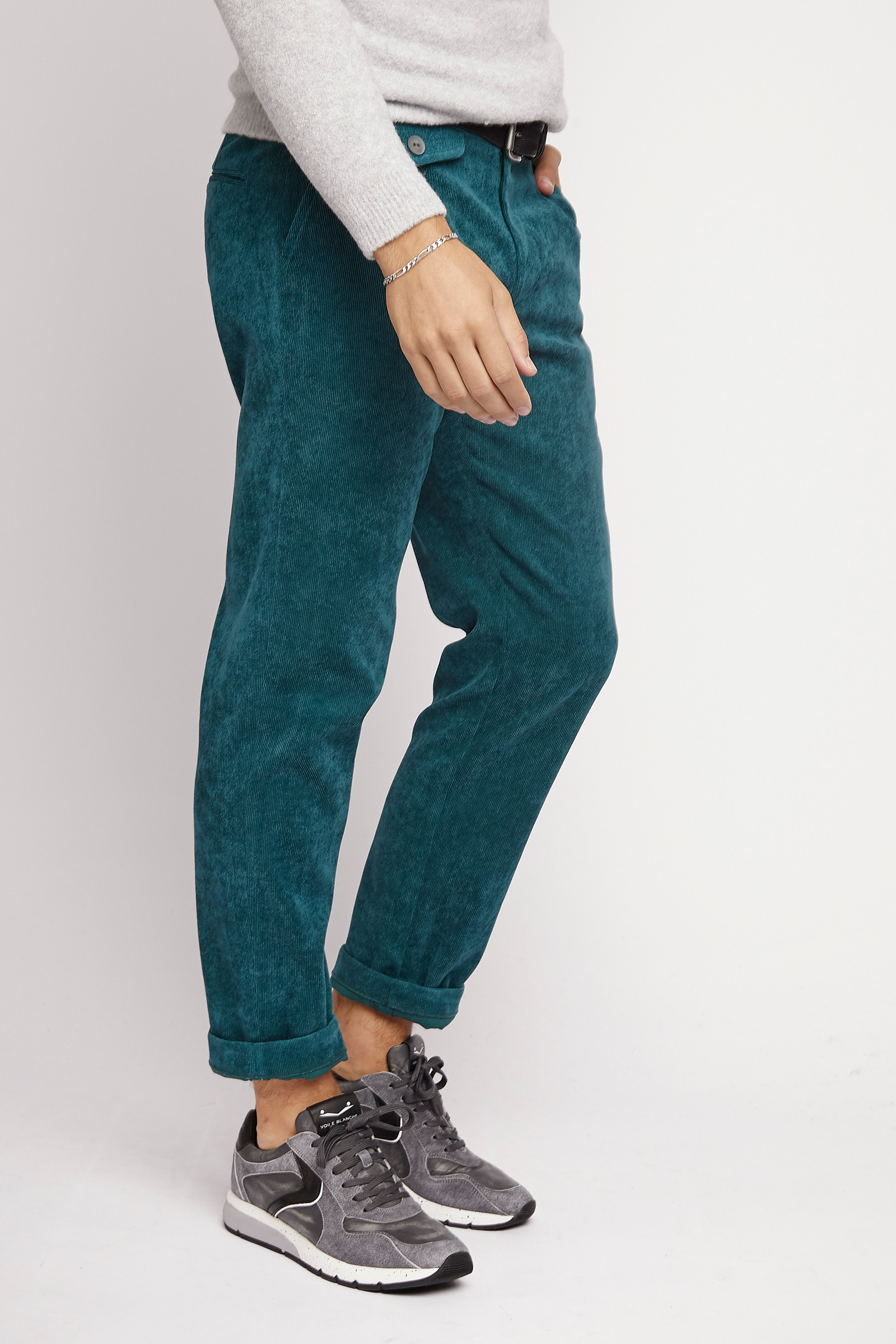 Turquoise Corduroy Trousers lateral