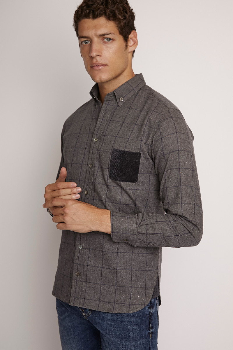 Camisa Cuadros Gris lateral