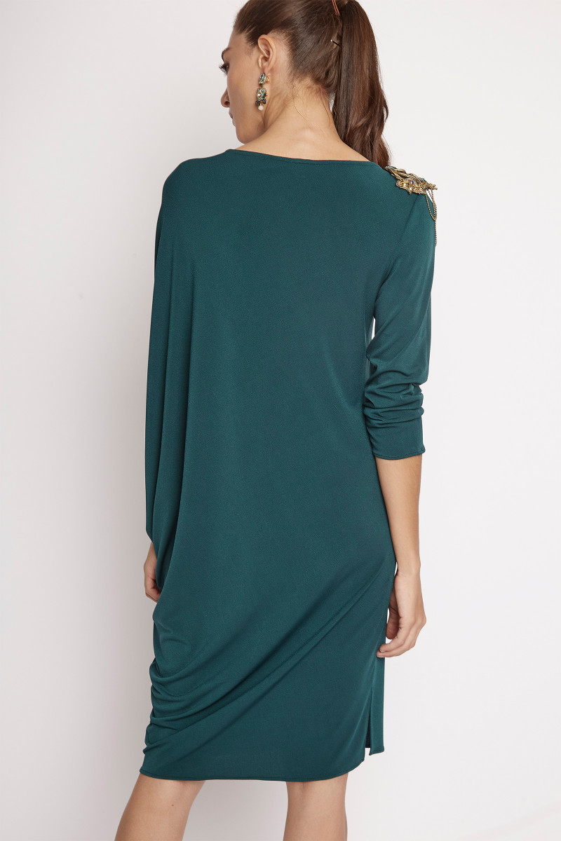 Green Asymmetric Dress Elisa & Eduardo Rivera