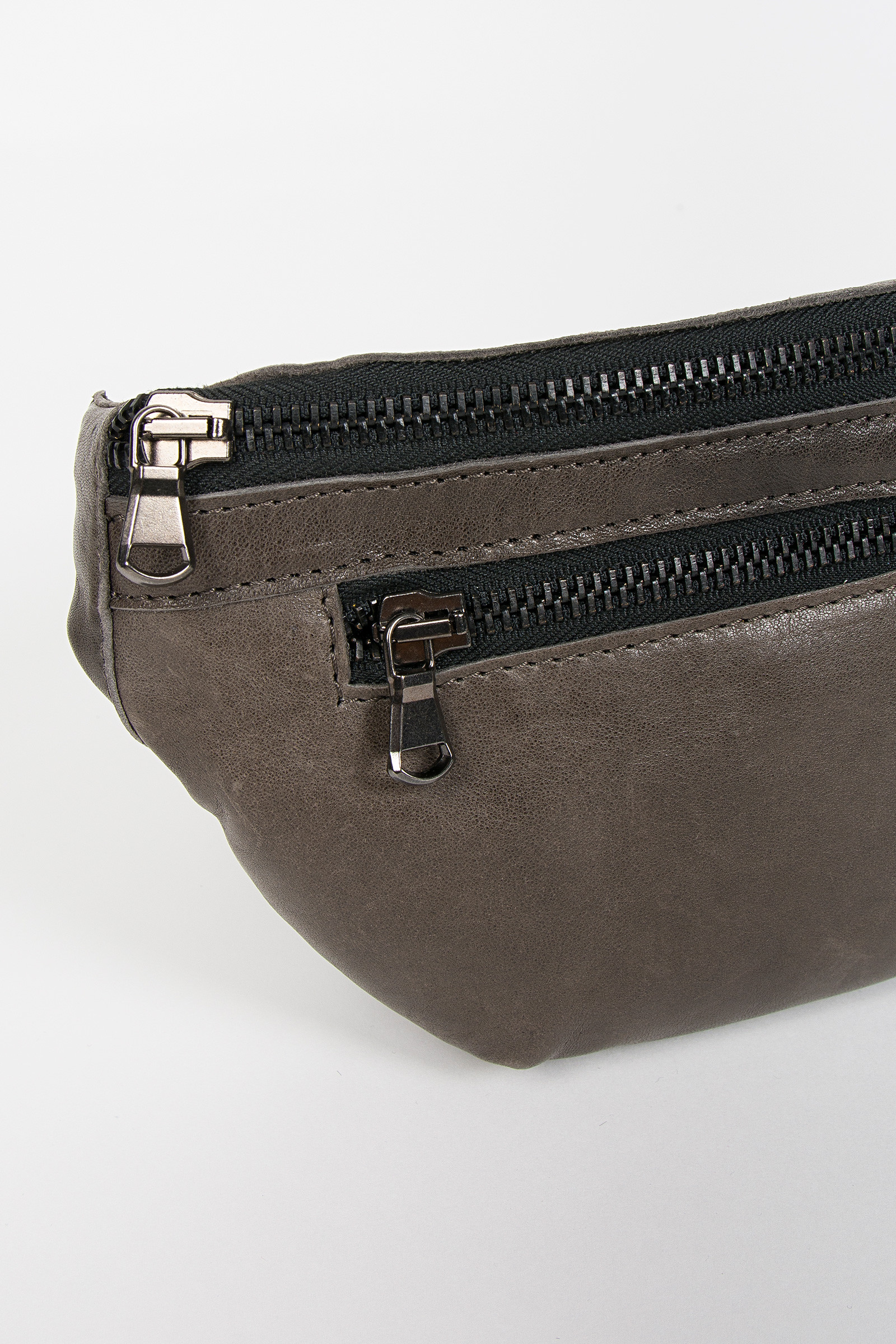 Gray Leather Fanny Pack detail