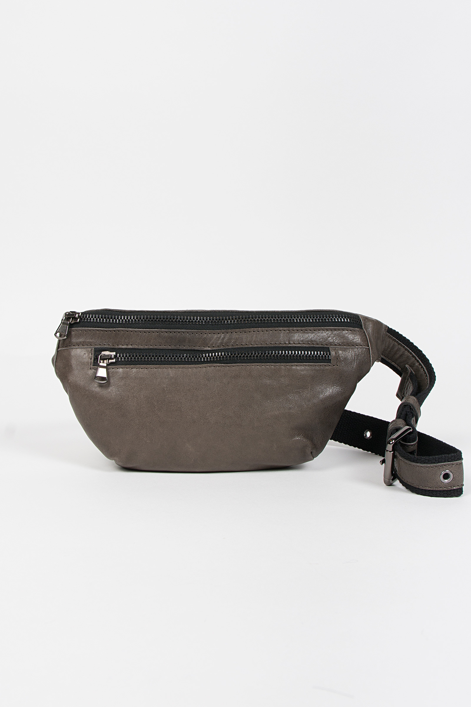 Gray Leather Fanny Pack cover