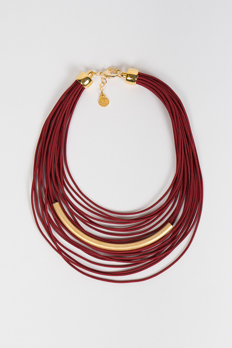 Burgundy Laces Necklace cover